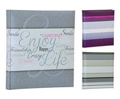 Quantio HENZO Fotoalbum LEVELS - für bis zu 500 Fotos 10x15-33 x 29 cm HxB - 100 Seiten - Auswahl aus violett, beige oder grau, Farbe:Grau