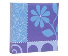 Quantio HENZO Einsteckalbum FLOWERFESTIVAL blau - für 200 Fotos 10 x 15 - Album - Fotoalbum - Foto Album - Urlaubsalbum - Memoalbum - Einsteckfotoalbum