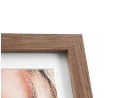 levandeo Holz Bilderrahmen Fotoaufsteller Farbe: Nussbaum braun hochwertig verarbeitet 2 Fotos 2mal 10x15cm mit Glasscheibe - Quer- & Hochformat Fotogalerie Fotocollage Bildergalerie Fotorahmen