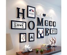 Bilderrahmen von Hjky, Massivholz-Set, kreative Zusammenfassung, rund 10 moderne Bilder für das Wohnzimmer, Schlafzimmer , Wandkasten. Solides Schwarz