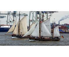 Fertig gerahmtes Leinwandbild auf Keilrahmen: Maritime Impression - Hafen Hamburg - Leinwandbilder, Leinwanddrucke, Keilrahmenbilder, Wandbilder, Bilder, Poster (100 x 50 cm)