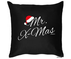 Weihnachten Geschenk Idee Kissen mit Innenkissen - Mr. Xmas Advent liebe Deko Nikolaus 40x40cm schwarz : )