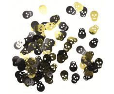 Streu-Konfetti: Tischdeko, Totenkopf, 18 mm, goldene/schwarze Folie