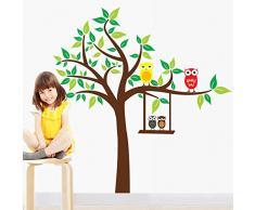 Walplus - Wandsticker Aufkleber Papierkunst Dekoration Grüner Baum Eule Tiere Kinderzimmer