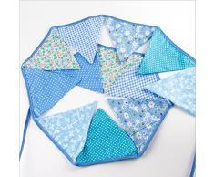 Oblique-Unique® Bunte Wimpel Girlande Baumwolle Wimpelkette Doppelseitig Farbenfroh Drinnen & Draußen - Motiv wählbar (Hellblau)