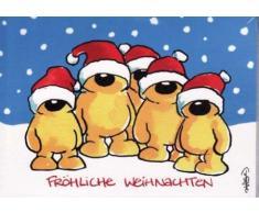 WeihnachtsPOSTkarte Bärchen-Team in Weihnachtsmützen