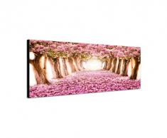 Panoramabild auf Leinwand und Keilrahmen 150x50cm Allee Bäume Blüten Blütentunnel rosa