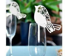ULTNICE 50 Stück Namenskärtchen Platzkarte Namensschild für Hochzeit Party Weinglas Dekor Weihnachtskarten