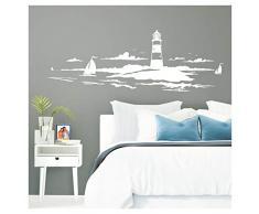 Grandora Skyline Küstenlandschaft Leuchtturm I weiß 120 x 42 cm I Bad Wohnzimmer Schlafzimmer Aufkleber Wandaufkleber Wandsticker Modern W974