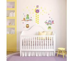 WALPLUS Wandsticker Dekoration Eule Baum Blumen Sterne Sticker Dekoration Kinderzimmer Kinder