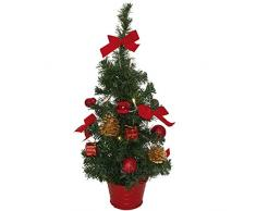 matches21 Kleiner Weihnachtsbaum mit Lichterkette & Deko Tannenbaum 45 cm LEDs warmweiß beleuchtet & rot geschmückt/fertig dekoriert Weihnachtsbäumchen batteriebetrieben