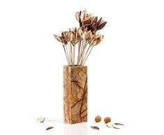 Yuchengstone Design Marmorvase, Vase Blumenvase aus indischem Marmor, massiv, rechteckig (24x10x8cm) Gewicht: ca. 2,6kg