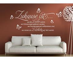Wandtattoo-Günstig G010 Zitat Zuhause ist wo die Liebe... Wandaufkleber Wandsticker Schmetterlinge weiß (BxH) 100 x 53 cm