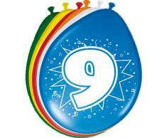 Folat 08209 9. Geburtstag Ballons 30 cm-8 Stück, Mehrfarbig