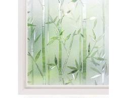 Rabbitgoo® 3D Statisch Haftende Fensterfolie Bambus Dekofolie Sichtschutzfolie Fensterschutzfolie Selbstklebend Anti-UV Upgrade Version 60*200cm