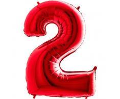 Trendario Folienballon Zahl 2 (Rot) XXL Riesenzahl 100cm Ballon - Helium Luftballons für Geburtstag, Partydeko, Hochzeit (Zahl 2, Rot)