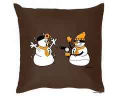 Weihnachten lustige Deko Kissen mit Innenkissen - SCHNEEMANN ÜBERFALL Advent Geschenk Idee 40x40cm braun : )