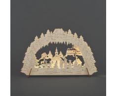 Konstsmide 2833-100 LED Holz Silhouette Weihnachtsdorf 10 warm weiße Dioden / 4.5V Innentrafo oder Batt.: 3xAA 1.5V / Natur