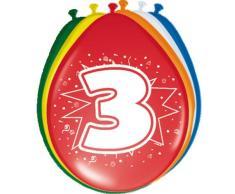 8 Luftballons Zahl 3 Geburtstag bunt