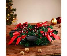 Britesta Adventskranz ohne Kerzen: Adventskranz mit rotem Schmuck, Ø 30 cm (Adventskranz ohne Nadeln)