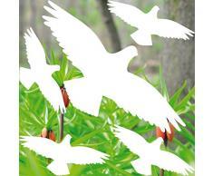Set weiß Vogel Vögel Aufkleber die cut Tattoo Warnvögel Fenster Schutz Deko Folie