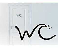 Grandora W781 WC Türaufkleber WC Piktogramm Bad Wandtattoo schwarz
