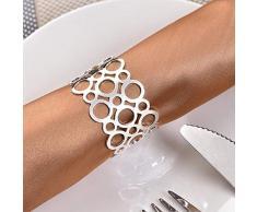Bulary 12 STÜCKE Silber Ausschnitt Serviettenring Hoop Serviettenringe Serviettenhalter für Hochzeit Hotel Liefert Tischdekoration