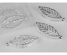 formano Streudeko Blatt, Blätter L. 5cm Silber mit Kristallglas 6 Stück in Box