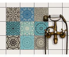 creatisto Fliesenaufkleber Fliesenfolie u. Mosaikfliesen | Fliesen-Sticker Folie Aufkleber für Badezimmer Deko - Folie für Badezimmer-Gestaltung | 15x15 cm - Motiv Marokkanisch - 9 Stück