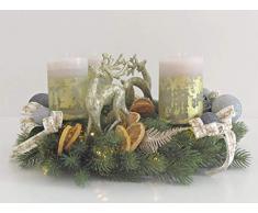 Adventskranz in Gold mit integrierter Lichterkette Weihnachten Kranz Gold Advent Sterne Kugeln Schleifen Kerzen Tanne Tannenkranz