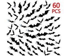 Tuopuda Halloween Wandtattoo Fledermaus Wandsticker Halloween Party Dekoration DIY Home Deko Wandaufkleber 3D Fledermäuse 60 pcs