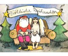 Janosch WeihnachtsPOSTkarte Weihnachtsmann und Engel sitzend auf dem Sofa