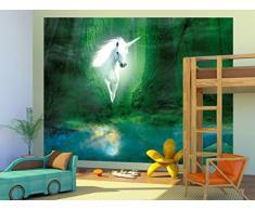 1art1 90755 Einhörner - Das Einhorn Im Grünen Zauberwald, 2-Teilig Fototapete Poster-Tapete 240 x 180 cm