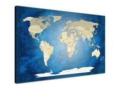 LANA KK - Leinwandbild World Map Blue Ocean Weltkarte - englisch - Kunstdruck-Pinnwand auf Echtholz-Keilrahmen – Globus in blau, einteilig & fertig gerahmt in 120 x 80 cm