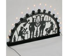 Schwibbogen Lichterbogen Metall - Motiv: Annaberg - XL 1 Meter Breite Außen-Bereich schwarz glänzend * groß * Erzgebirge Bergmann Bergmänner