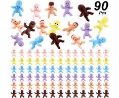 90 Stücke Mini Kunststoff Babys Baby Dusche Spiele Party Eiswürfel Party Dekoration, 1 Zoll Kunststoff Babys Puppe für Baby Baden und Basteln (Latein, Dunkel Braun, Rosa, Gelb, Lila, Blau)