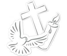 24-teiliges Tisch-Deko-Set * WEISSE TAUBE + KREUZ + KERZE * für Konfirmation, Kommunion oder christliches Fest // XXL Konfetti Trauerfeier Weihnachten Ostern Advent Dekoration Deko Motto