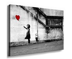 Fotoleinwand24 - Banksy Graffiti Art There Is Always Hope / AA0134 / Bild auf Keilrahmen / Grau / 100x70 cm