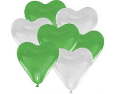 25 Herz Luftballons Ø 30 cm Farbe frei wählbar Herzballons Helium Luftballon (Grün/Weiß)
