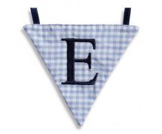 Hansekind Wimpel Wimpelkette mit Namen Buchstabe rosa od. blau Geschenk Taufe (E, Hellblau)