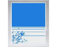 INDIGOS UG Sichtschutzfolie Glasdekorfolie Fensterfolie mit Motiv satiniert blickdicht - w207 Baum Blume Ranke - 1000 mm Länge - 500 mm Höhe Streifen