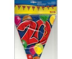 Folat 04562 20. Geburtstag Wimpelkette mit Balloons-bunt-10 m, bunt