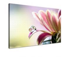LANA KK - Leinwandbild Lenz mit Blumen auf Echtholz-Keilrahmen – Frühling und Natur Fotoleinwand-Kunstdruck in rosa, einteilig & fertig gerahmt in 100x70cm