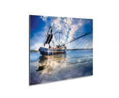 Alu Dibond Wandschild Maritime Deko Bild Fischkutter auf See Platte DIN A3