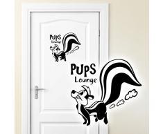 Grandora WC Türaufkleber Pups Lounge + Stinktier I schwarz (BxH) 20 x 19 cm I Badezimmer Bad Wandaufkleber Wandsticker Wandtattoo Aufkleber Sticker W981