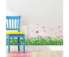 WandSticker4U®- Wandtattoo Blumenwiese mit Libellen I Breite: 2.3M I Wandsticker Wiese Frühling Fensterbilder Blumen Gras Bordüre I Wand Deko für Wohnzimmer Kinderzimmer Flur Fenster