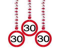 Folat Geburtstag Party Verkehrsschild 7,6 cm Dekoration zum Aufhängen – 30.