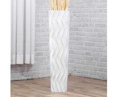 Große Bodenvase 75 cm, Mangoholz, Weiß
