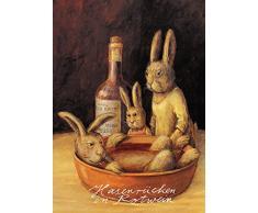 Postkarte A6 • 13933 Hasenrücken in Rotwein von Inkognito • Künstler: Ernst Kahl • Satire • Ostern