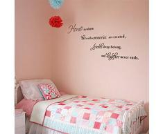 *Home is where love resides* Englische Sprüche Wandsticker Wandbild Wandtattoo Wandaufkleber Wandbilder Aufkleber Deko. PVC abnehmbar Schwarze Schrift